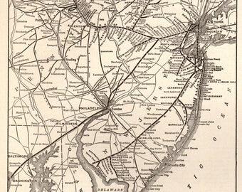 1926 Antique Delaware Lackawanna RAILROAD Map Print Black and