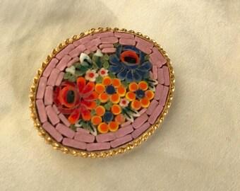 Vintage Micromosaic Floral Brooch