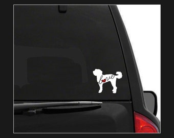 Labradoodle / Goldendoodle Love: Car Window Vinyl Decal - Laptop Sticker - Dog Breed Decals - Dog Stickers - Cooler Decal - Dog Lover Gift