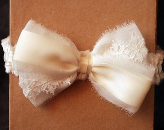 Ivory Chiffon and Lace Bow Garter - Elise