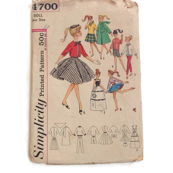Vintage 50\'s Barbie Doll Clothes Simplicity Pattern Sewing