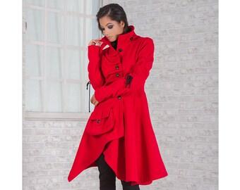 Coat Red Passion/ Elegant Coat/ Beautiful Coat/ Winter Women Coat/ Warm Coat/ Asymmetrical Coat/ Wool Coat/ Cashmere Coat/ Friends Fashion