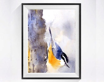 Nuthatch Print  Bird Print wildlife art watercolor painting Animal art small bird Nature bird wildlife woodland creature Nuthatch