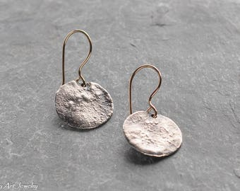 Rustic sterling silver disk earrings with gold-filled ear-wires