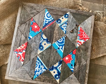 Red & Blue Whimsical Rustic Barn Quilt (w/ Fabric Blocks)