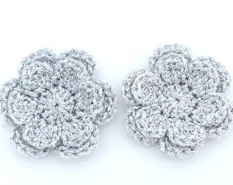 Christmas appliques, 2 silver two-layer shiny crochet flowers, cardmaking, scrapbooking, appliques, handmade, sew on patches embellishments