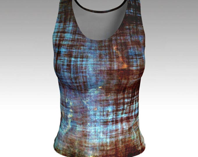 Tank Tops, Blue and Brown Tank Top, Distressed, Worn in look, Fitted Tank Top, Women's Tank Top, Women's Tops, Yoga Tops, Printed Tank Top