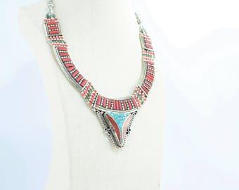 Ethnic tibetan necklace coral and turquoise étnico boho vintage style