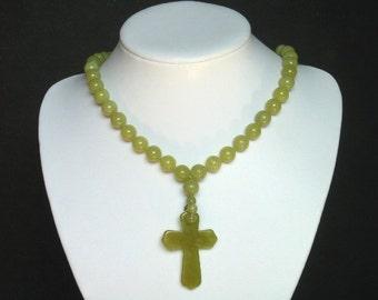 "Necklace Lemon Jade Huge 50mm Cross Pendant 20"" NSJL2990"