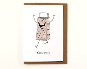 Grate News - Great News Greetings Card - Well Done Congratulations - Graduation - Passed Exams - New Home - New Born