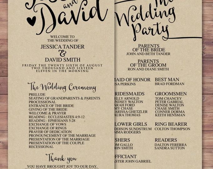 natural, boho, Printable Wedding Program, elegant wedding program, wedding ceremony, modern wedding program, order of ceremony, rustic