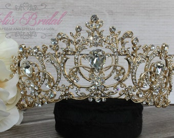 Gold Swarovski Tiara, Quinceanera Tiara, Crystal Tiara ,Wedding Tiara ,Crown , Princess Tiara,  Crystal Headpiece, Corona