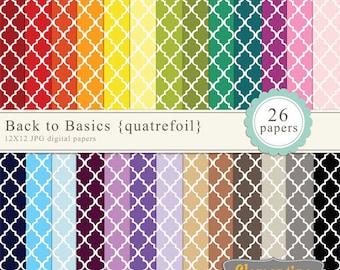 Quatrefoil digital paper 12x12, digital scrapbooking paper, royalty free commercial use -quatrefoil- Instant Download