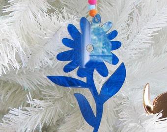 Flower Otomi Mexican plexiglass and pom pom Christmas ornament