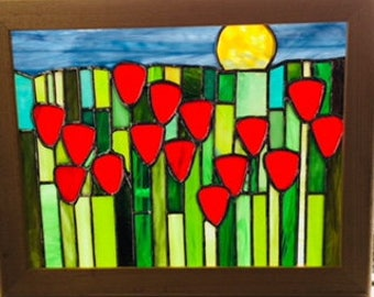 Poppy Field Stained Glass Panel