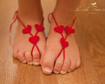 Baby Barefoot Sandals- Beach Wedding- Foot Jewelry- Footless Sandals- Barefoot Wedding Sandal- Flower Girl gift- Valentines Gift- Baby Girl