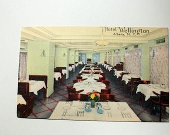 Hotel Wellington Albany Postcard / Linen Postcard / New York Postcard / vintage Hotel Postcard. restaurant Postcard