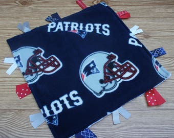New England Patriots Baby Ribbon Tag Blanket Personalized Patriots Baby Football Nursery Baby Shower New Baby Gift Patriots Fleece Minky