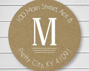 White Ink on Kraft Monogram Return Address Stickers, Wedding Invitation Return Address Labels, Monogram Return Address Labels (#203-KR-WT)
