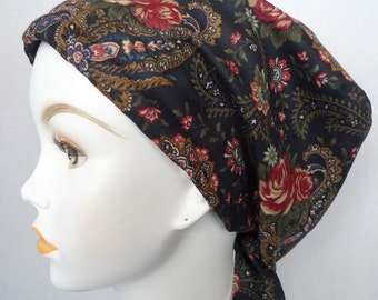 Navy Floral Hat Chemo Scarf Head Wrap Hair Loss Turban Head Covering Bad Hair Day Hat