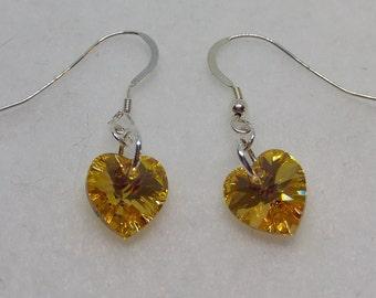 Sterling Silver Swarovski Crystal Metallic Sunshine AB Heart Earrings (November Birthstone)