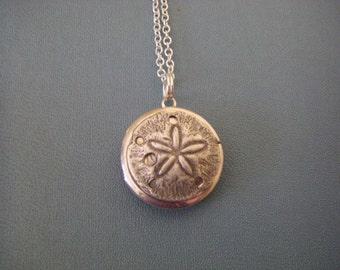 Sand Dollar Locket, silver sand dollar Necklace,  Sterling silver chain, tiny locket, small locket