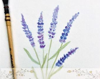 Lavender watercolour, Lavender painting, Lavender, Lavender Art, Lavender painting,  Lavender flowers, Lavender wall art, purple painting