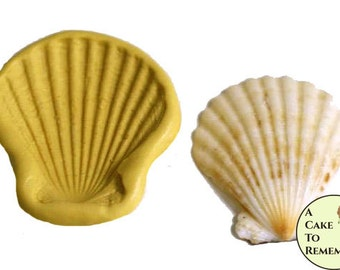 Clam shell seashell mold for cake decorating or polymer clay, beach cakes, gumpaste shell mold, fondant shell mold. M33