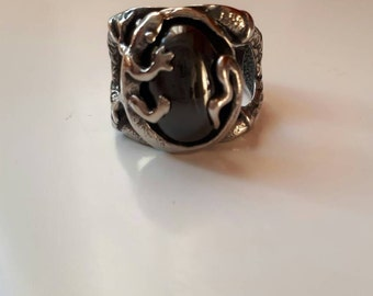 reptile Lizard silver blood jewel ring wizard ring size 10