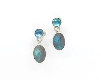 Labradorite and Blue Topaz Earrings, Blue Stone earrings, Labradorite earrings