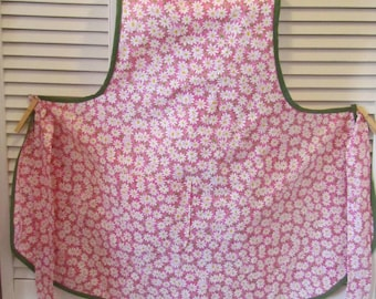 Plus Size Vintage Style Apron, Pink Daisy Print Fabric, Handmade ,Women's Apron, Scoop Neck, One Size fits Most