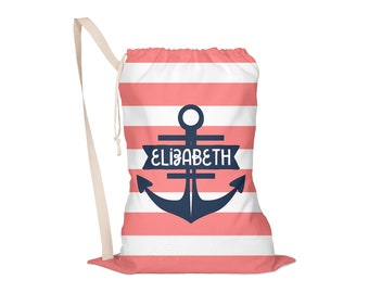 Laundry Bag, Laundry Tote, Camp Laundry Bag, Laundry Drawstring Bag, Monogrammed, Personalized Preppy Anchor Pick Your Colors