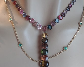 14k Gold Silver Sapphire Tourmaline Necklace One Of A Kind Custom Made One Of A Kind