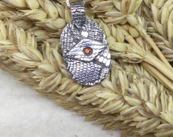 Fine Silver Oval Pendant with Cubic Zirconia Stone