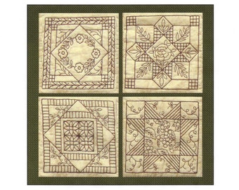 Garden Tile Coasters Pattern - Redwork Hand Embroidery Pattern - by Beth Ritter - Instant Digital Download