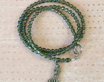 Green Beaded Wrap Bracelet with Birth of Venus Charm