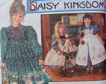 Simplicity 9706, Girls Size  6, 7 and 8, Daisy Kingdom Dress and Pinafore and Matching 18 Inch Doll Clothes Pattern, Full Gathered Skirt