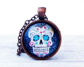 Sugar skull, Skull necklace, Sugar skull necklace, Sugar skull pendant, Mexican sugar skull, Skull jewelry, Mexican skull, Skull pendant