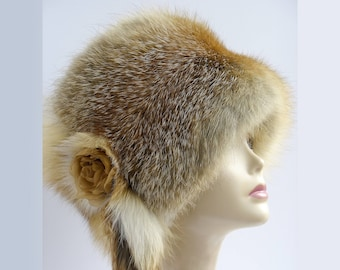 Russian fox FUR HAT fur accessories real fur  Hat fox fur Hat  Women's Winter Fur Hat fur accessories Winter hats styled Winter women dress