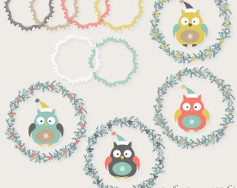 Christmas clipart, Winter clipart, owl clipart, embellishment, digital images for invites, party printables, websites, banners, paper crafts
