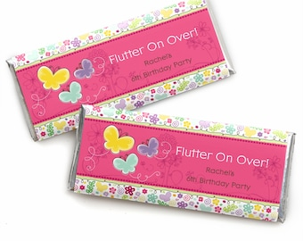 24 Butterfly and Flowers Custom Candy Bar Wrappers - Personalized Baby Shower and Birthday Party Favors