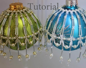 PDF tutorial Christmas Ornament _beaded decorations_ seed bead_pearl_bicone_beading
