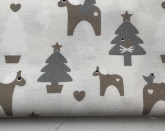 Trees + Horse - Grey/Beige - Woven Cotton - Made in Denmark
