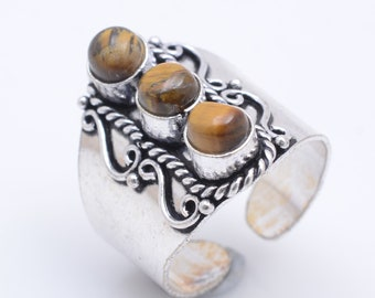 Antique Tiger Eye 925 Silver Ring Adjustable