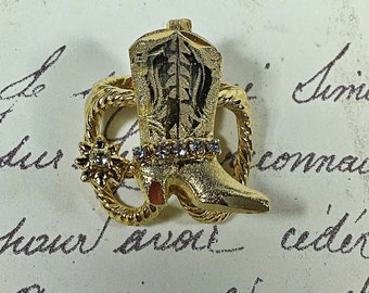 Strass Vintage botte de cowboy clip trois boucle papillon anneau lariat style écharpe or ton navire gratuit western