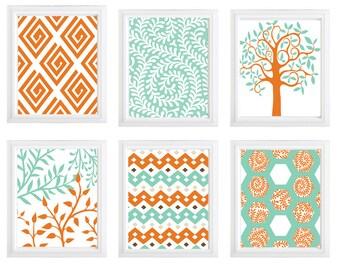 Set of 6 home decor wall art leaves trees and geometric modern art