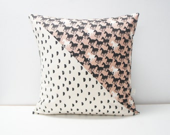 Patchwork Pillow Cover, 20x20, Dots on natural with horses
