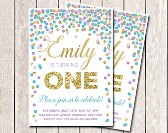 1st Birthday Invitation Purple Aqua Gold Confetti Birthday Invitation Purple Teal Gold Birthday Invitation Any Age Printable Girl Invitation