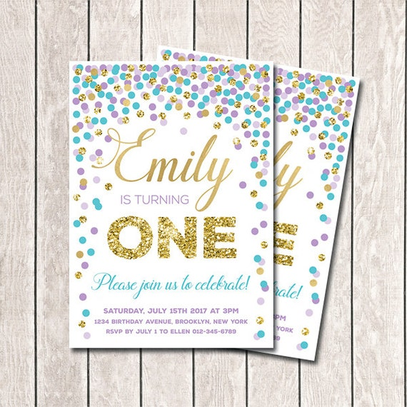 1st birthday invitation purple aqua gold confetti birthday filmwisefo