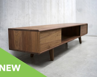 Solid Black Walnut Media Console with Beveled Edge *